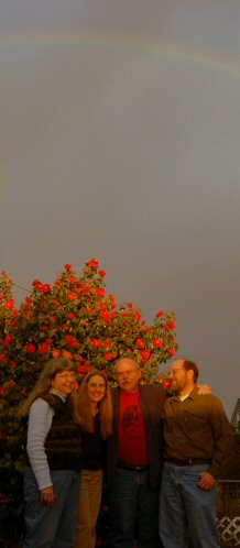 Band under rainbow, photo by Rose Thor